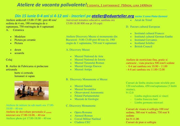 EduArtelier - Ateliere de vacanta polivalente